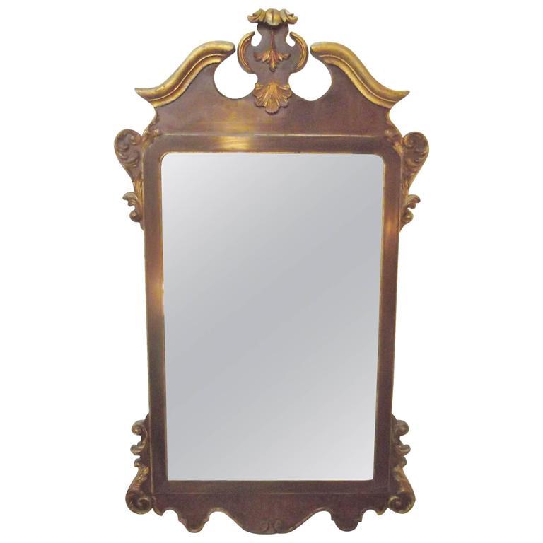 LaBarge Burl Walnut and Distressed Gilt Georgian Style Mirror