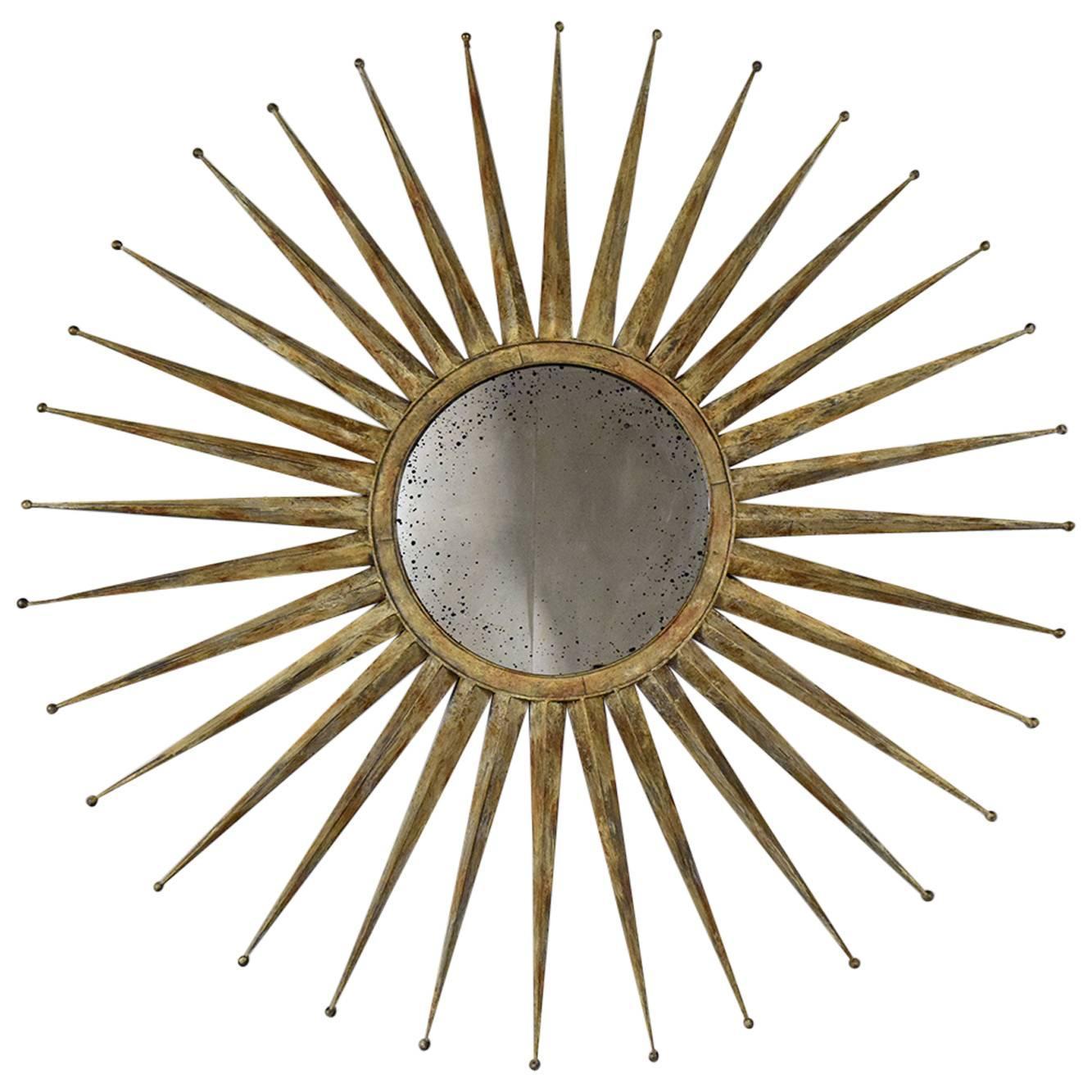 Sunburst distressed finish wall mirror at 1stdibs for Sunburst mirror
