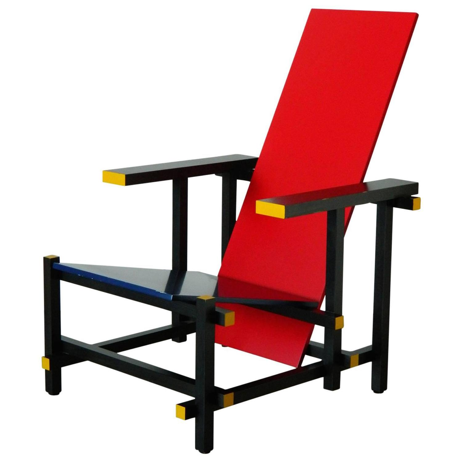 Red and Blue Chair by Gerrit Thomas Rietveld For Sale at 1stdibs
