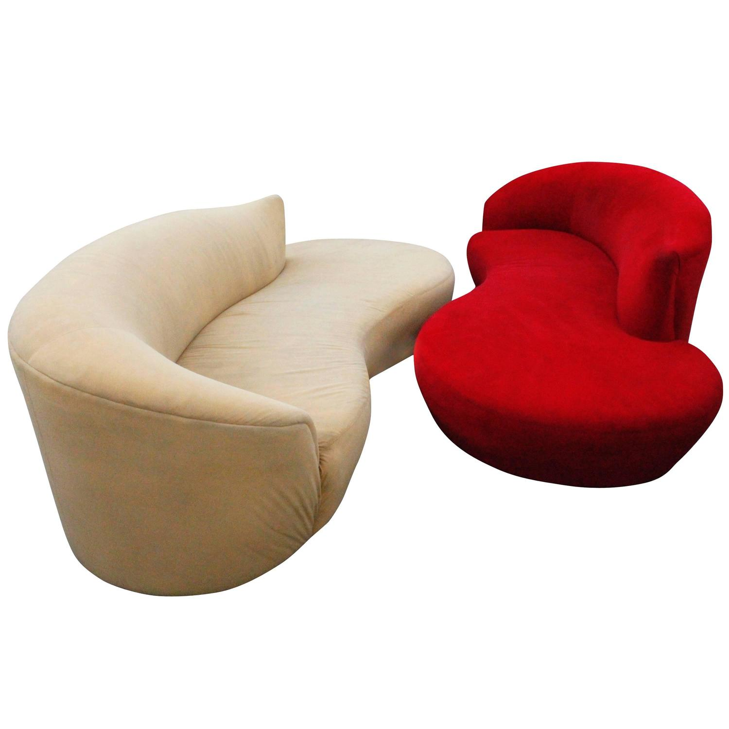Cloud Sofas Pair Of Curved Kidney Chrome Ultrasuede