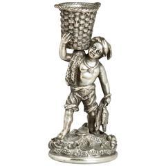Silvered Bronze 19th Century Figural Match Striker
