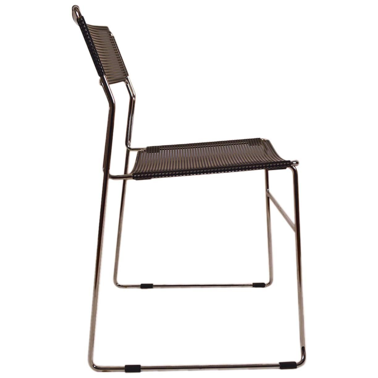 Charmant Black And Chrome Metal Mesh Chair For Sale At 1stdibs