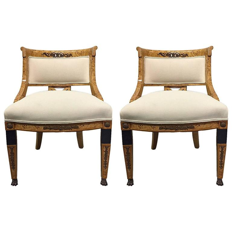Pair of French Empire Style Side Chairs