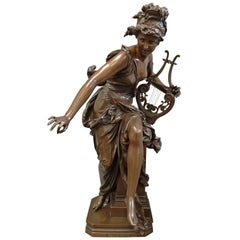 "C19th Classical Bronze statue of Harmonie, by Carrier. 31""(79cm)"