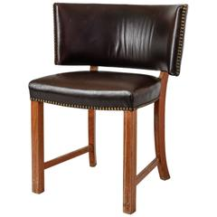 Danish Oak and Leather Sidechair with Large, Curved Backrest, 1930s