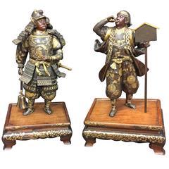 Near Pair of Miyao Bronze Samurai Warriors