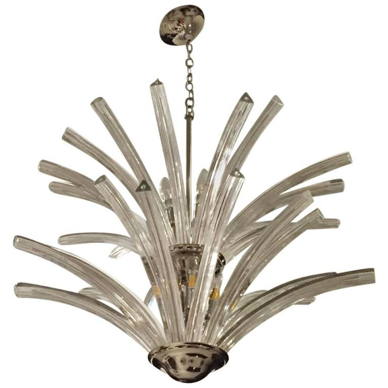 Italian MId-Century Modern Two-Tier Chandelier For Sale