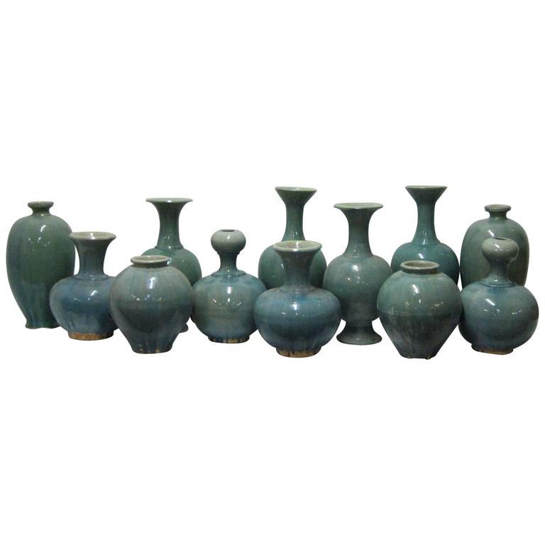 Extra Large Washed Turquoise Vases, China, Contemporary