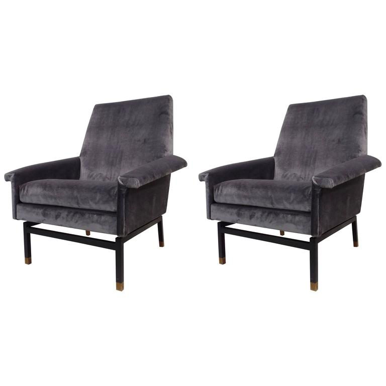 Pair Italian Cantilevered Mid-Century Modern Lounge Chairs, Gianfranco Frattini