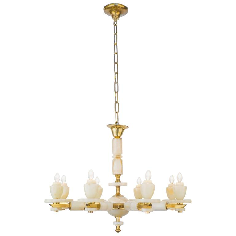Vintage Onyx and Brass Chandelier with Eight Arms