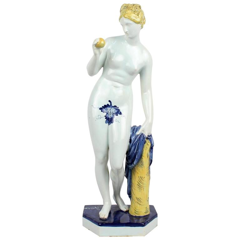 Large 19th Century Samsom et Cie Faience Figurine of Venus and the Golden Apple
