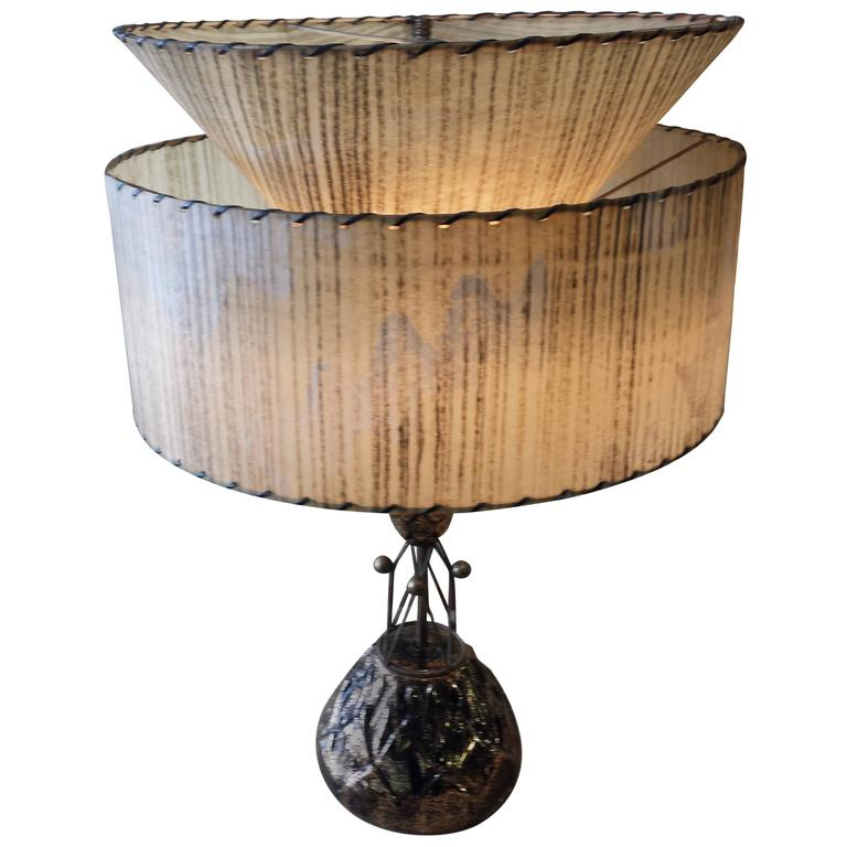 1950s Ceramic and Brass Table Lamp with Fiberglass Two-Tier Shade