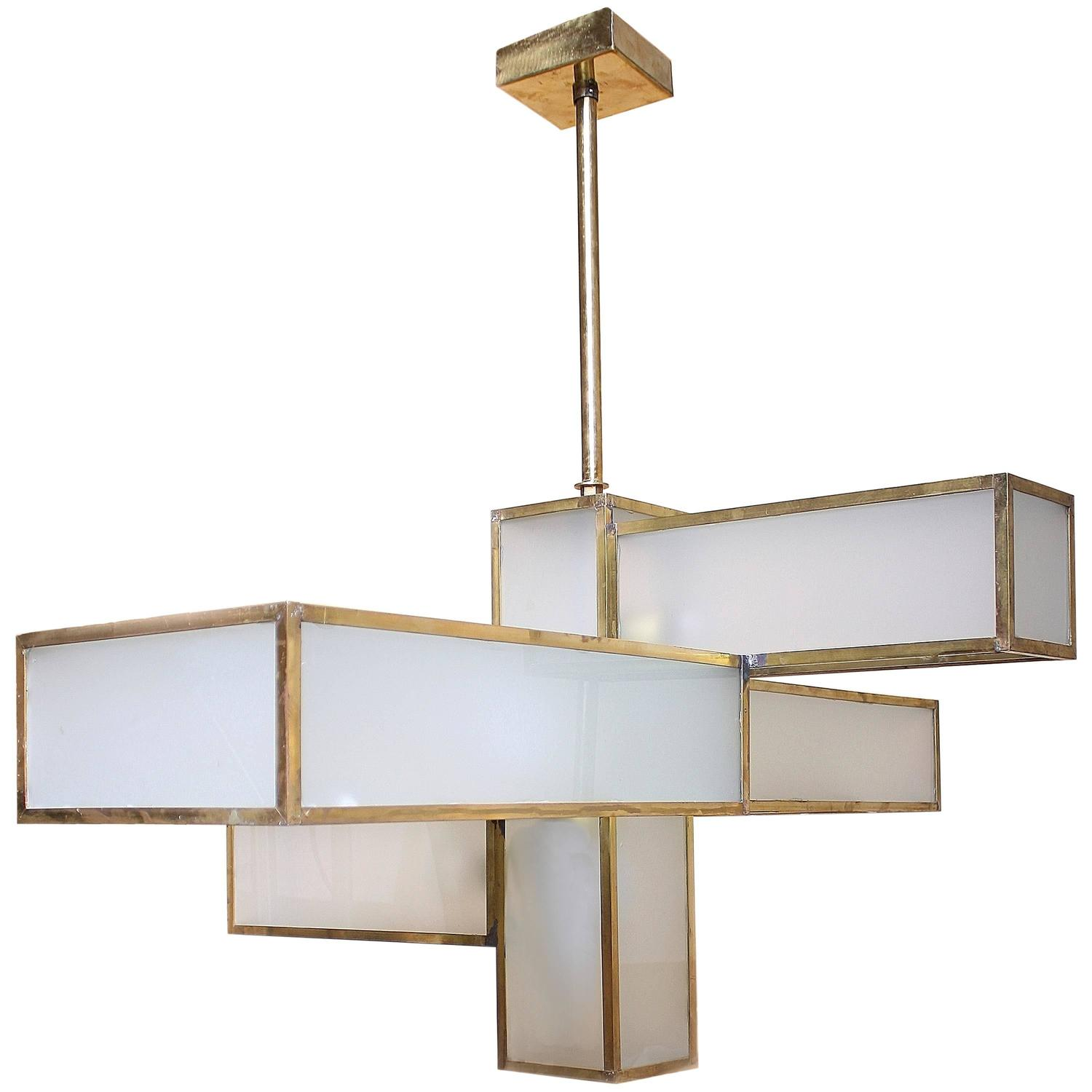 Geometric Brass Chandelier: Geometric Glass And Brass Chandelier Attributed To Jean