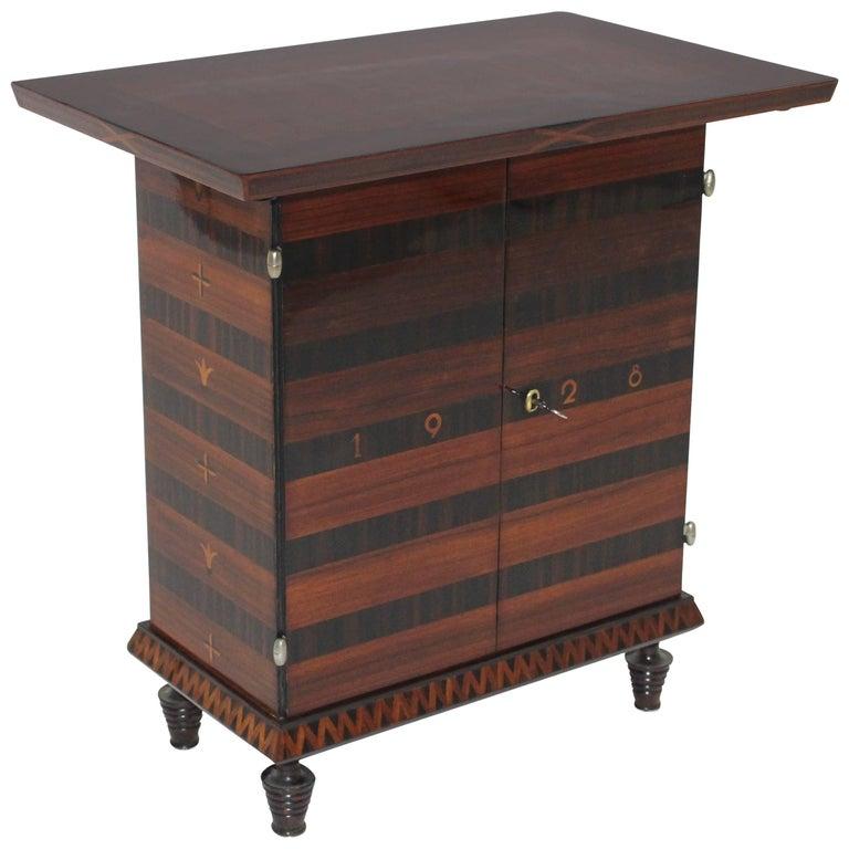 Art Deco Palisander Beech Vintage Side Table or Casket 1928 Austria  For Sale