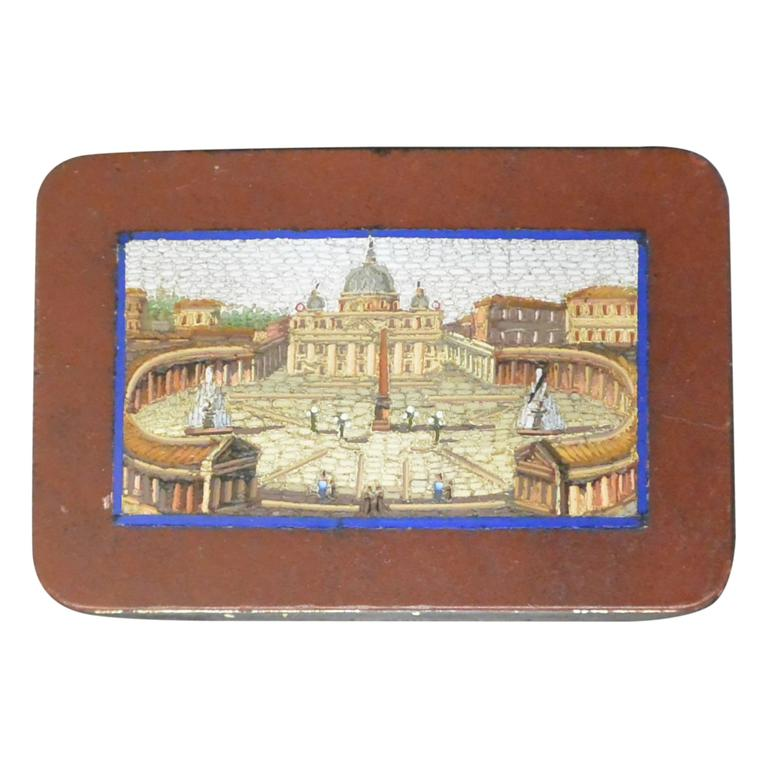 Micromosaic Snuff Box with View of St. Peter's For Sale