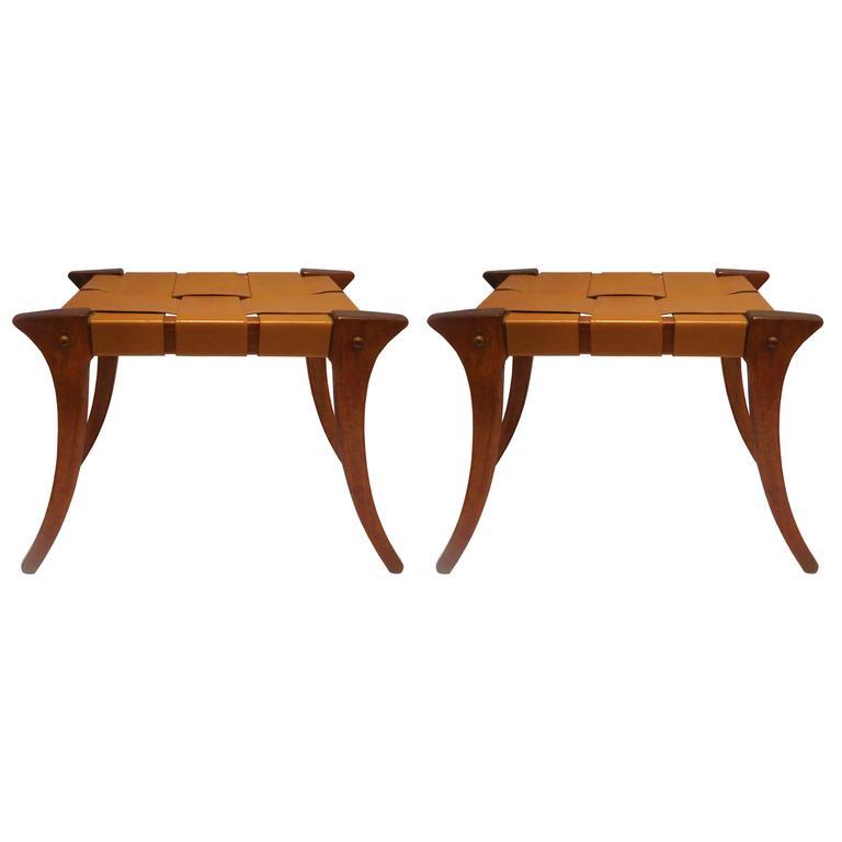 klismos leg bench ~ 1970s pair of matching klismos style benches in leather