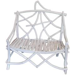 Rustic White Twig Bench
