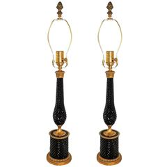Outstanding Pair French Bronze-Mounted Ormolu Cut Crystal Amethyst Jansen Lamps