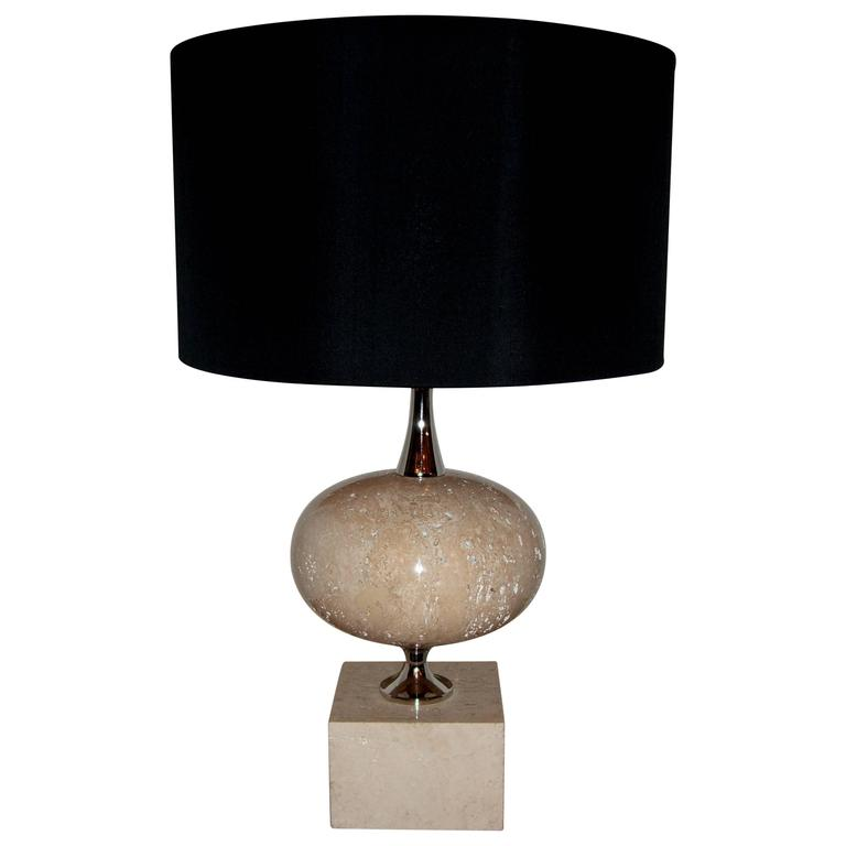 1970s Polished Travertine Phillipe Barbier Table Lamp