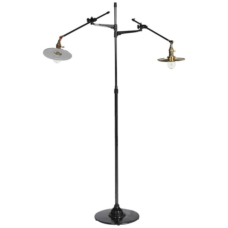 Adjustable Two-Arm O.C. White Floor Lamp Customized by Wyeth