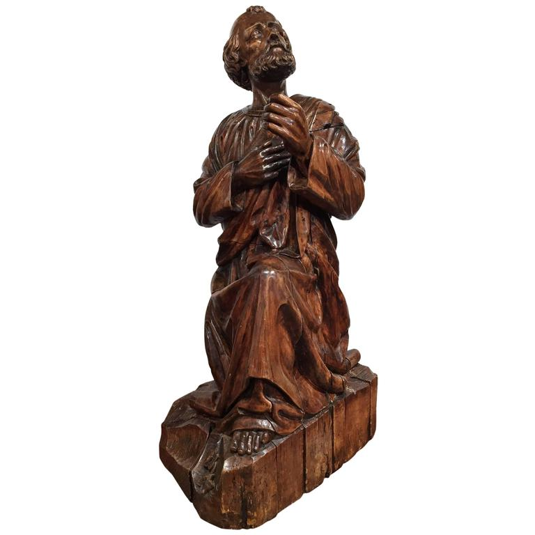 18th Century French Hand-Carved Walnut Statue of Saint Peter Kneeling
