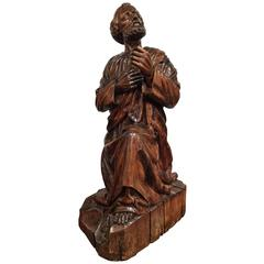 18th Century French Carved Walnut Statue of Saint Peter Kneeling in Adoration