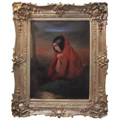 """Antique Oil on Canvas, England 19th Century Signed """"Poole"""""""