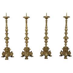 Rare Set of Four 18th Century Tall Brass Altar Sticks