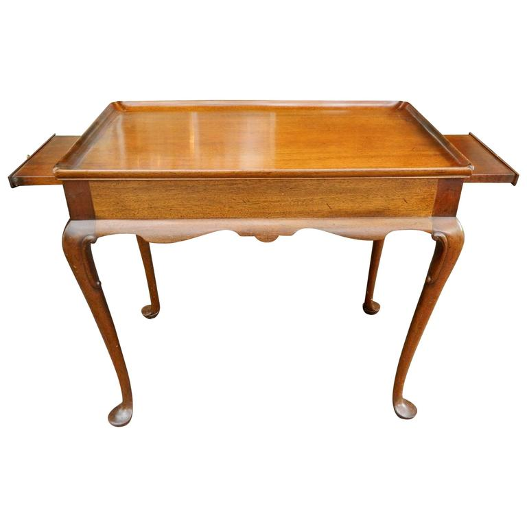 English Mahogany Queen Anne Tray Top Tea Table, Early 19th Century