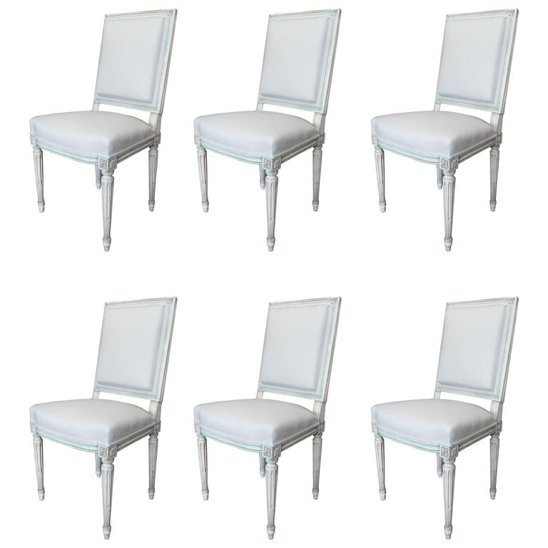 Set of Louis XVI Style Dining Chairs For Sale