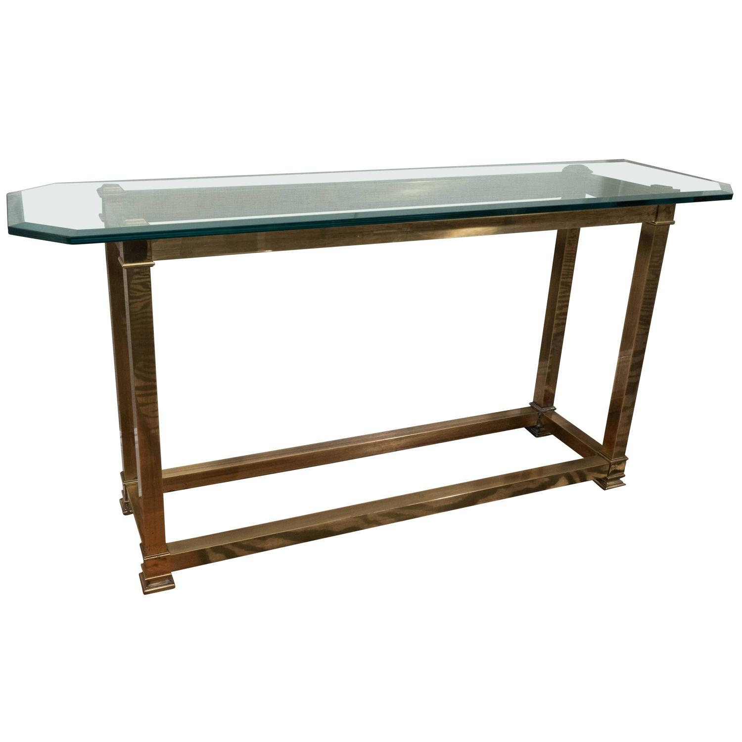 Brass And Glass Console Table By Mastercraft At 1stdibs