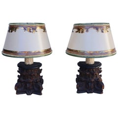 Carved Italian Capital Lamps with Parchment Shades
