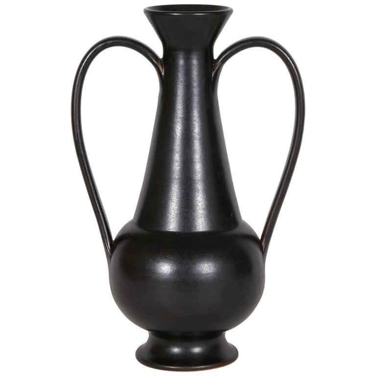 Gio Ponti Black Ceramic Vase For Neoponti Italy Designed 1951 For