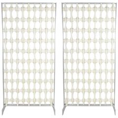 "Pair of Aluminum Framed Don Harvey ""Bone"" Screens"