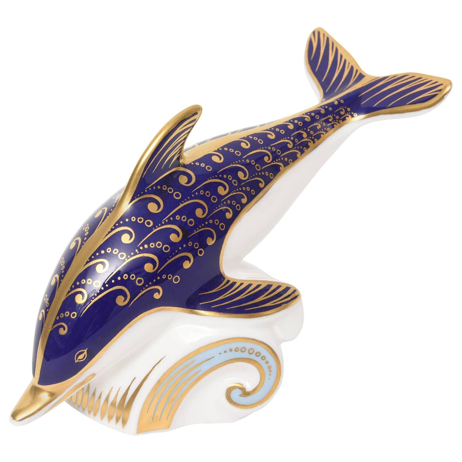 Royal Crown Derby Dolphin Cobalt Blue and Gold Hand