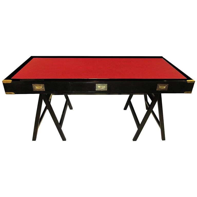 French Ebonized Campaign Desk Red Leather Top And Applied Brass 1
