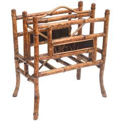 Superb 19th Century English Burnt Bamboo Magazine Stand