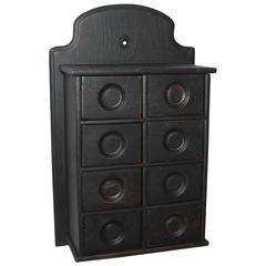 19th Century Black Painted Spice Box