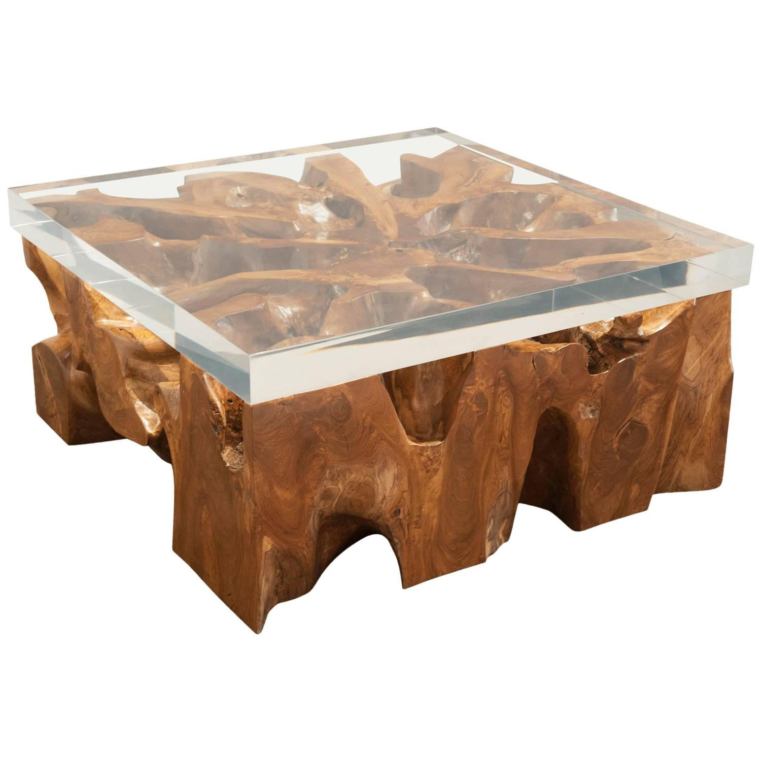Large lucite and wood coffee table at 1stdibs One of a kind coffee tables