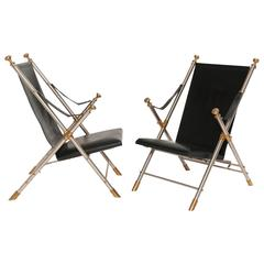 Arm Chairs Campaign Style Pair