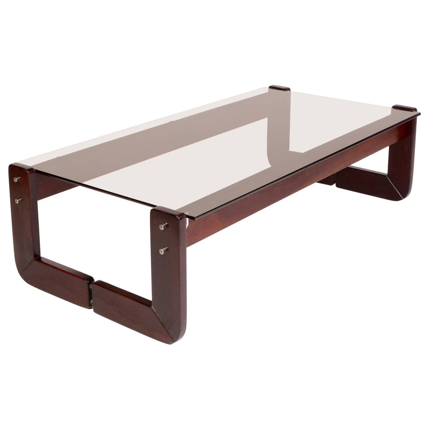 Percival Lafer Rosewood And Smoked Glass Coffee Table At