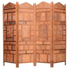 Anglo Indian Carved Four Panel Screen