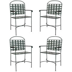 Set of Four Vintage Green Porch/Terrace Armchairs