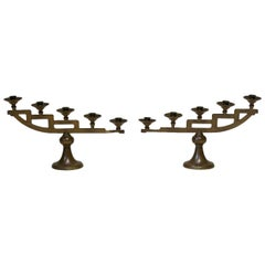 Pair of Copper-Coloured Stepped Candle Holders, France, circa 1920s