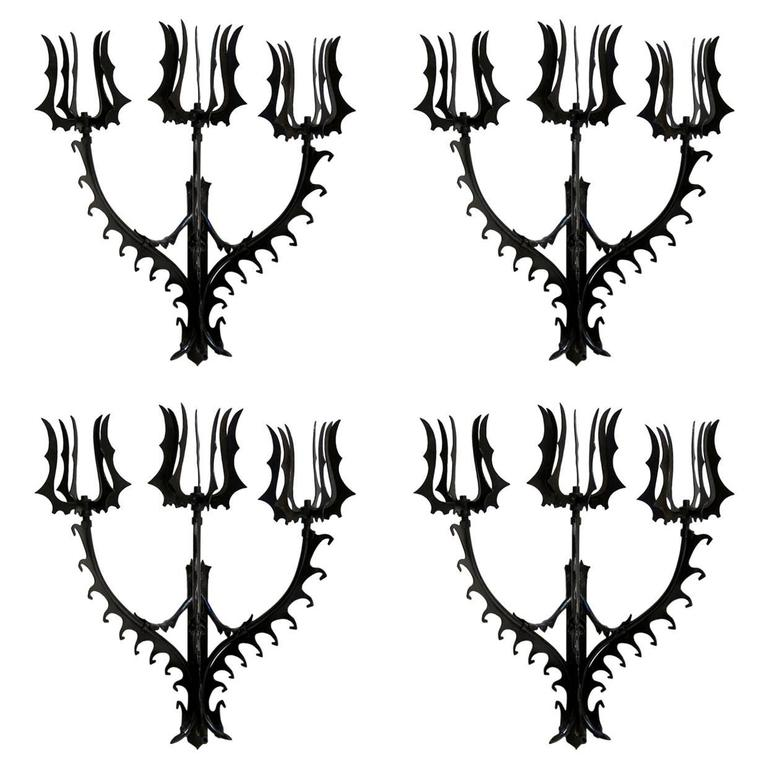 Set of Four Neo-Gothic Iron Sconces, France, 1940s