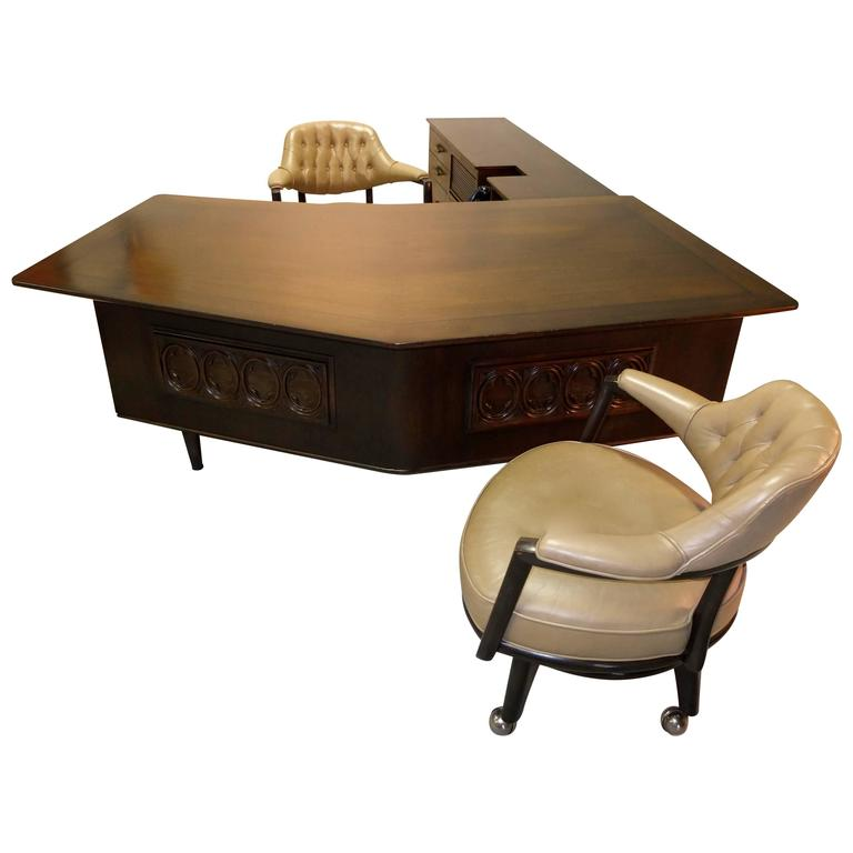 Monteverdi-Young Executive Boomerang Desk with Return and Guest Chairs For Sale