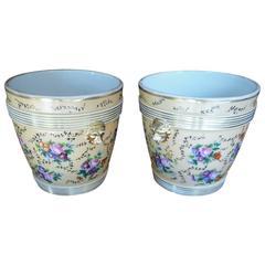 19th Century Pair of Cachepot in Porcelain of Paris
