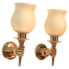 Pair of French 1950s Brass and Opaline Sconces after Andre Arbus