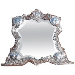 English Sterling Silver Winged Cherub Dressing Mirror, Circa 1770