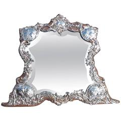 English Sterling Silver Winged Cherub Dressing Mirror, Circa 1770